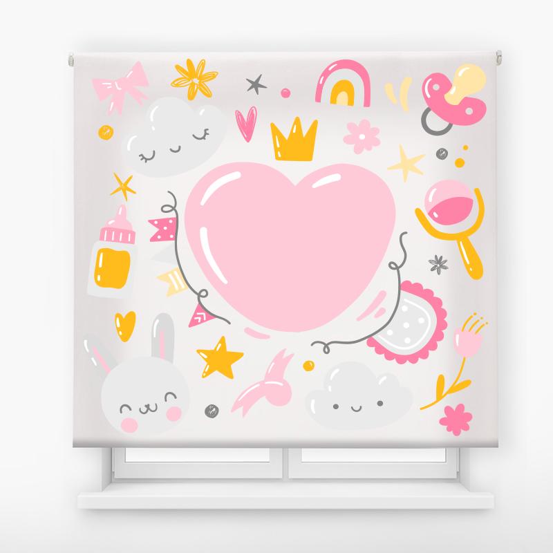 Estor enrollable infantil y bebé básico Corazón rosa