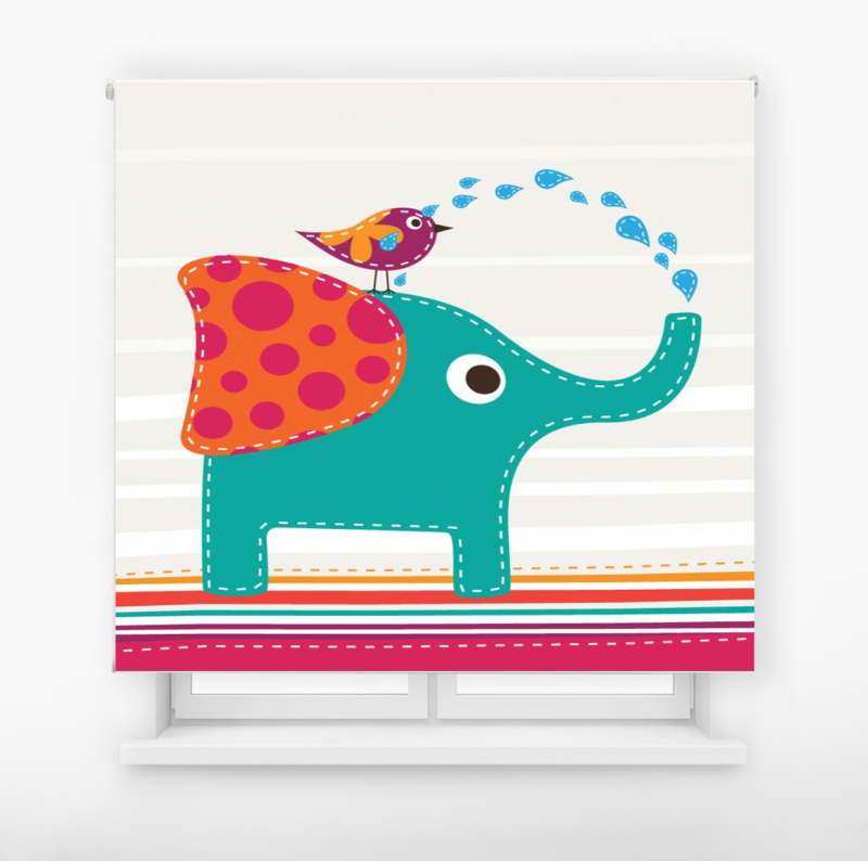 Estor enrollable infantil y bebé básico elefante divertido