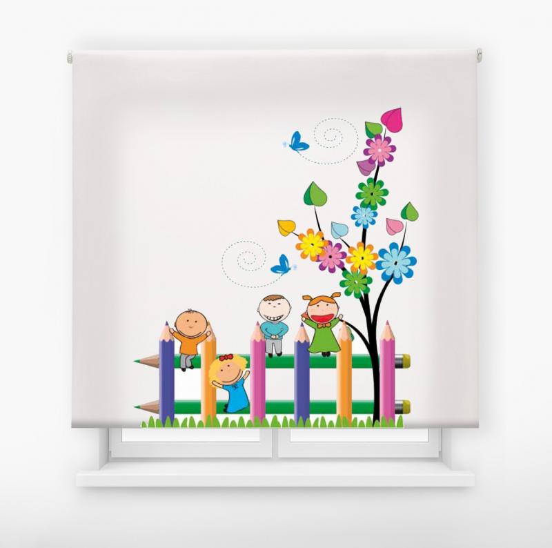 Estor enrollable infantil y bebé básico jardín feliz