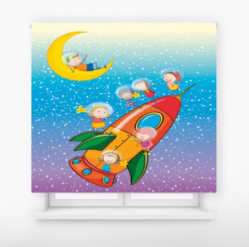 Estor enrollable infantil y bebé básico viaje espacial