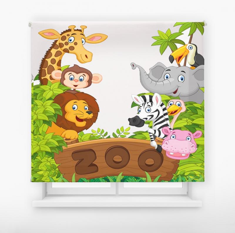 Estor enrollable infantil y bebé básico animales zoo