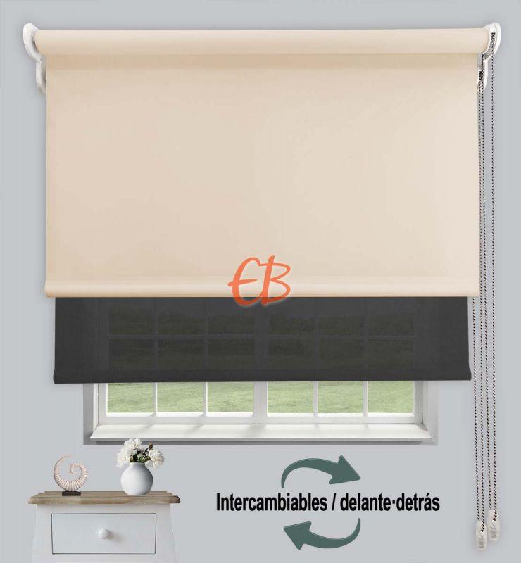 Estor doble opaco-EcoScreen Beige DK 01/Antracita B53030