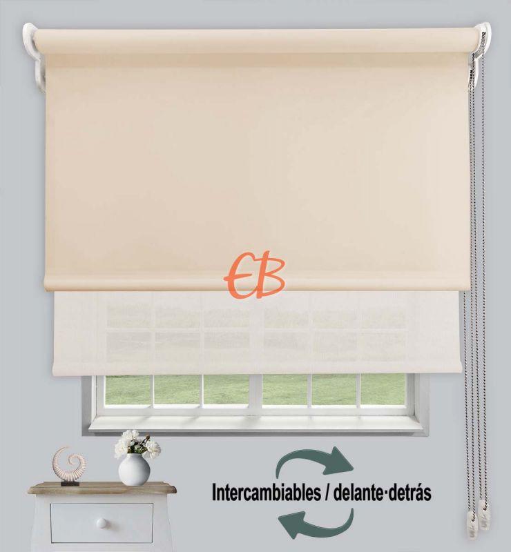 Estor doble opaco-EcoScreen Beige DK 01/Blanco Lino B50220