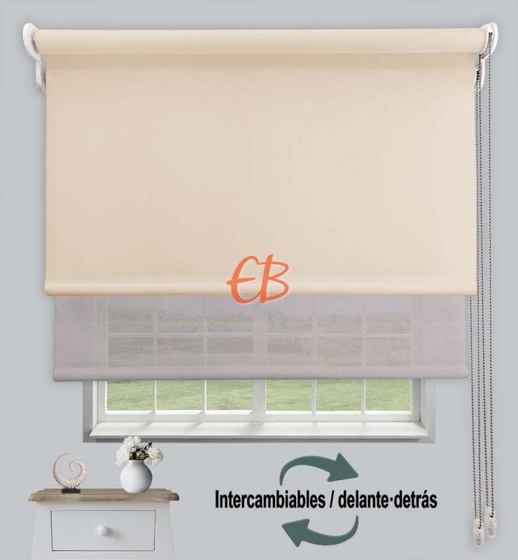 Estor doble opaco-EcoScreen Beige 01/Perla lino B50720