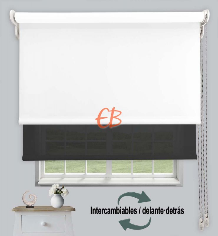 Estor doble opaco-EcoScreen Blanco DK 00/Antracita B53030