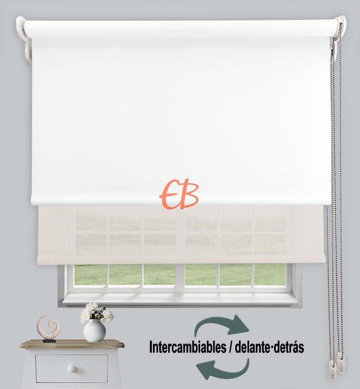 Estor doble opaco-EcoScreen Blanco DK 00/Blanco Lino B50220