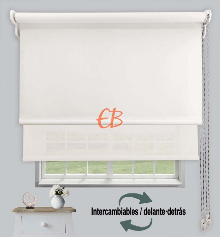 Estor doble opaco-EcoScreen Crudo DK 02/Blanco lino B50220