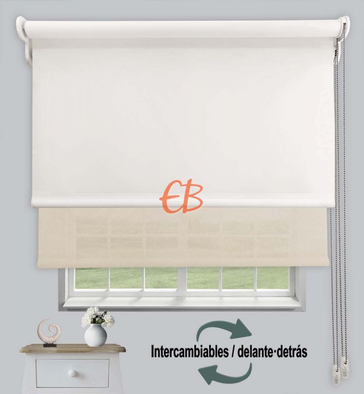 Estor doble opaco-EcoScreen Crudo DK 02 / Lino B52020