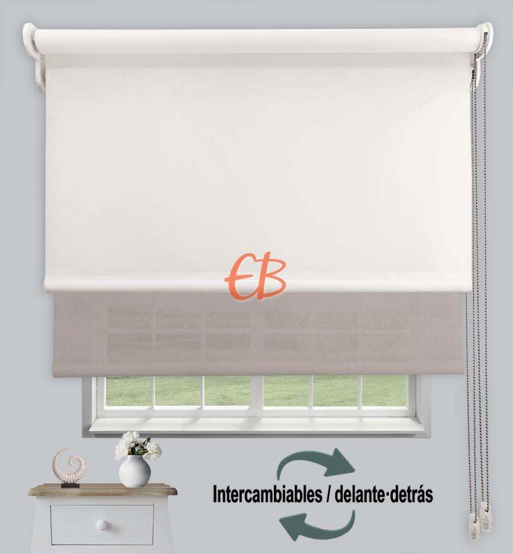 Estor doble opaco-EcoScreen Crudo DK 02/Perla lino B50720