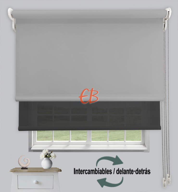 Estor doble opaco-EcoScreen Gris cl DK 11/Antracita B53030