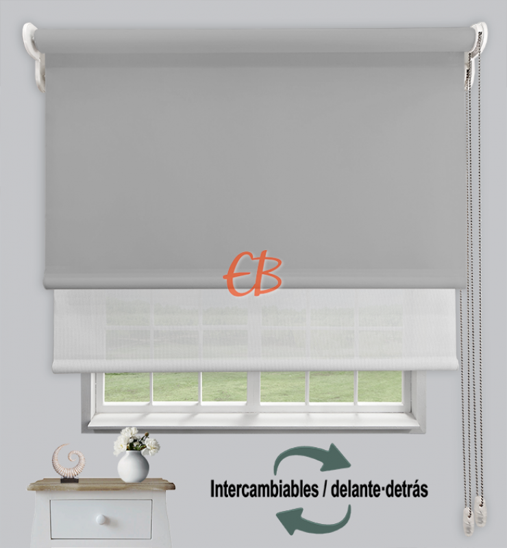 Estor doble opaco-EcoScreen Gris cl DK 11/Blanco perla B50207