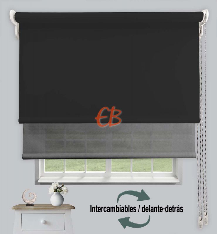Estor doble opaco-EcoScreen Negro DK 13/Antr. perla B53001