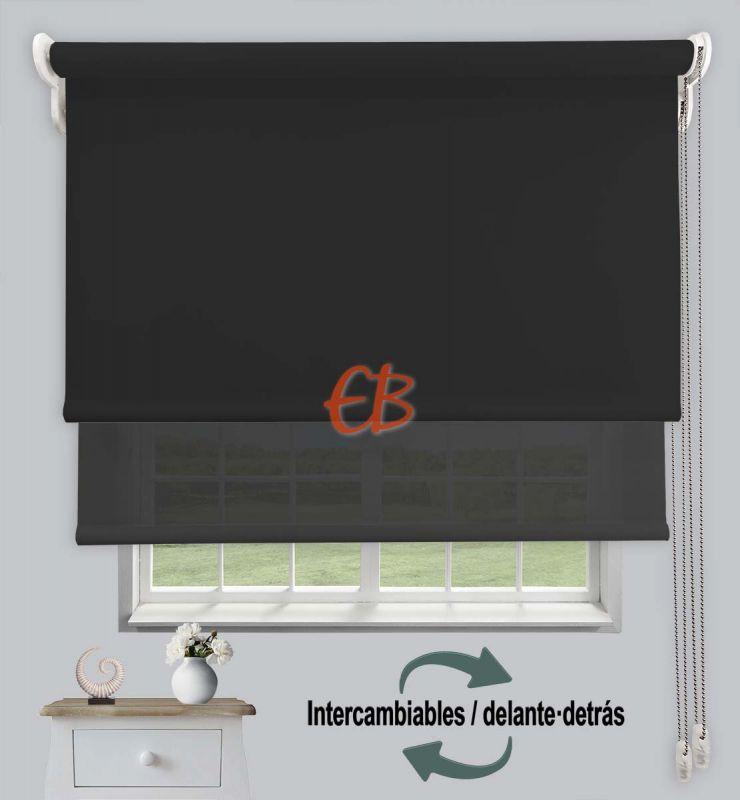 Estor doble opaco-EcoScreen Negro DK 13 /Antracita B53030