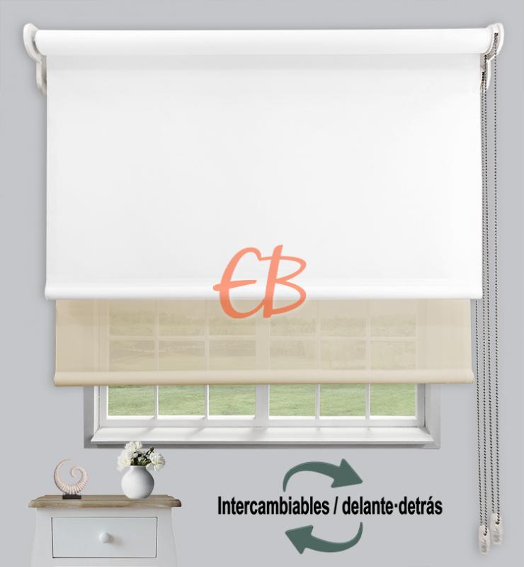 Estores dobles luz y sombra Blanco CAB00/Beige MM01