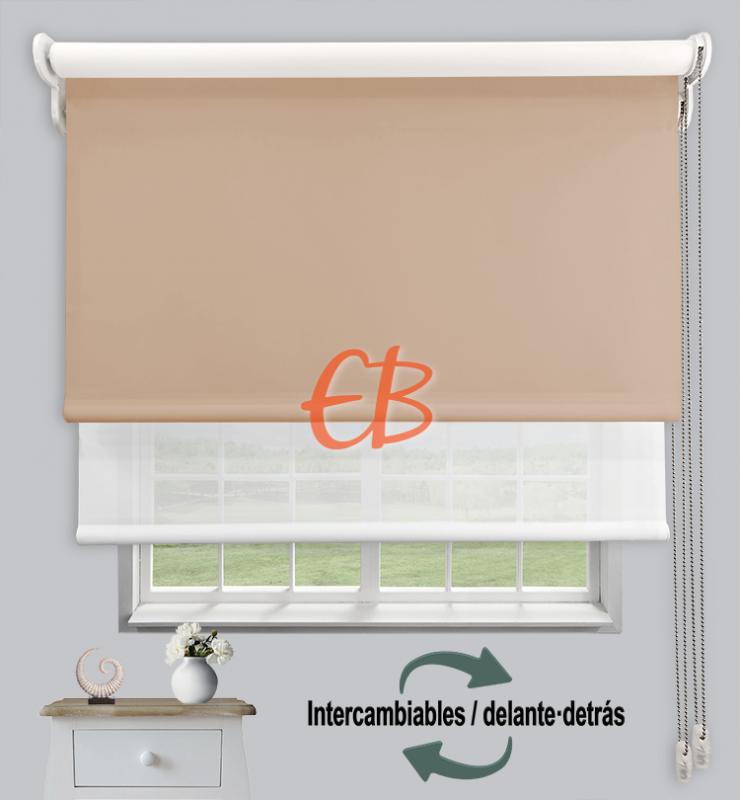 Estores dobles luz y sombra Marrón claro CAB16/Blanco/Crudo MM00