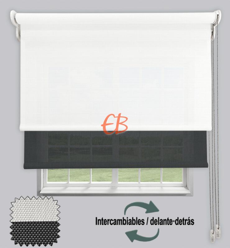 Estor doble EcoScreen 1%-EcoScreen 5% Blanco B10202/Antrac. perla B53001