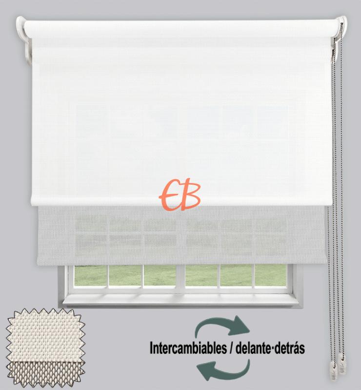 Estor doble EcoScreen 1%-EcoScreen 5% Blanco B10202/Blanco perla B50207