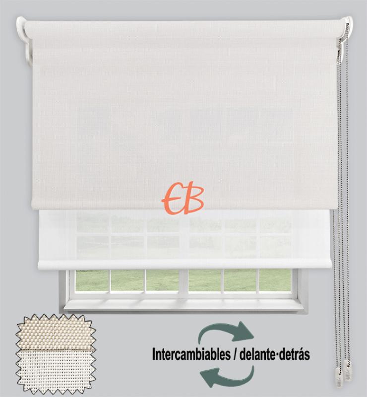 Estor doble EcoScreen 1%-EcoScreen 5% Blanco lino B10220/Blanco B50202