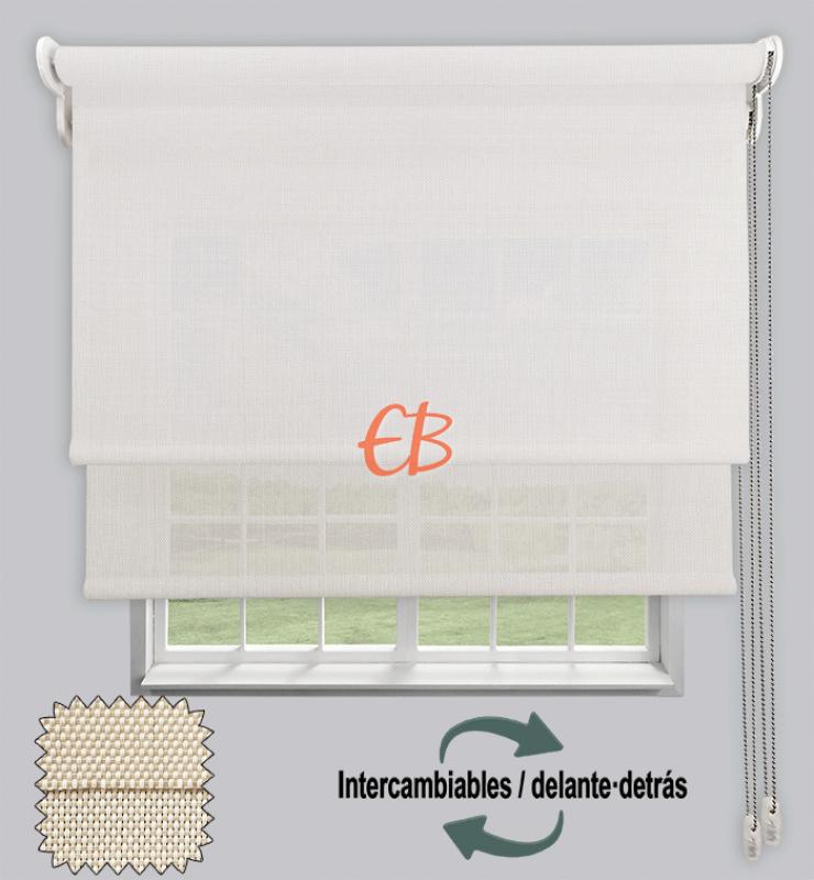 Estor doble EcoScreen 1%-EcoScreen 5% Blanco lino B10220/Blanco lino B50220