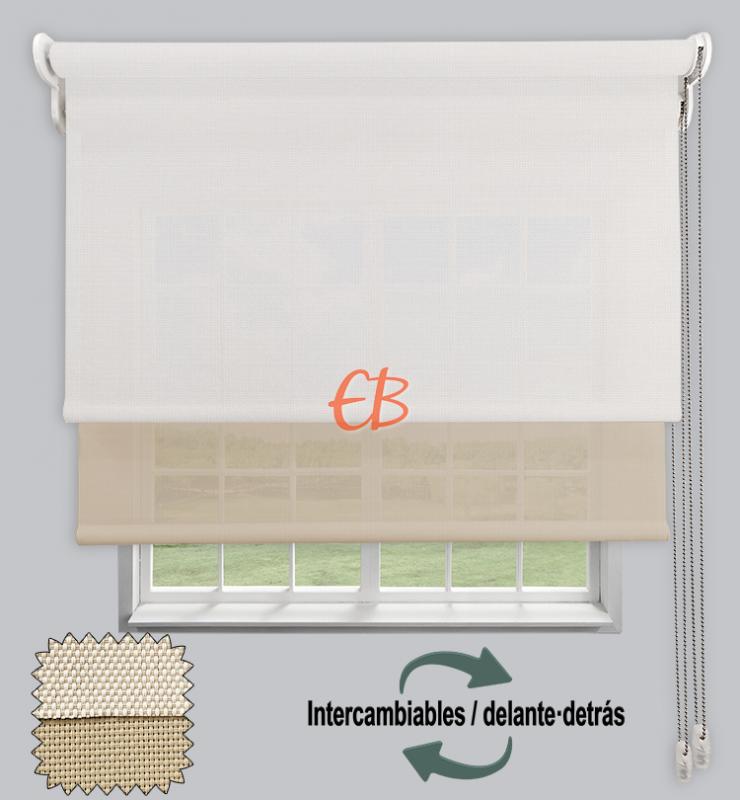 Estor doble EcoScreen 1%-EcoScreen 5% Blanco lino B10220/Lino B52020