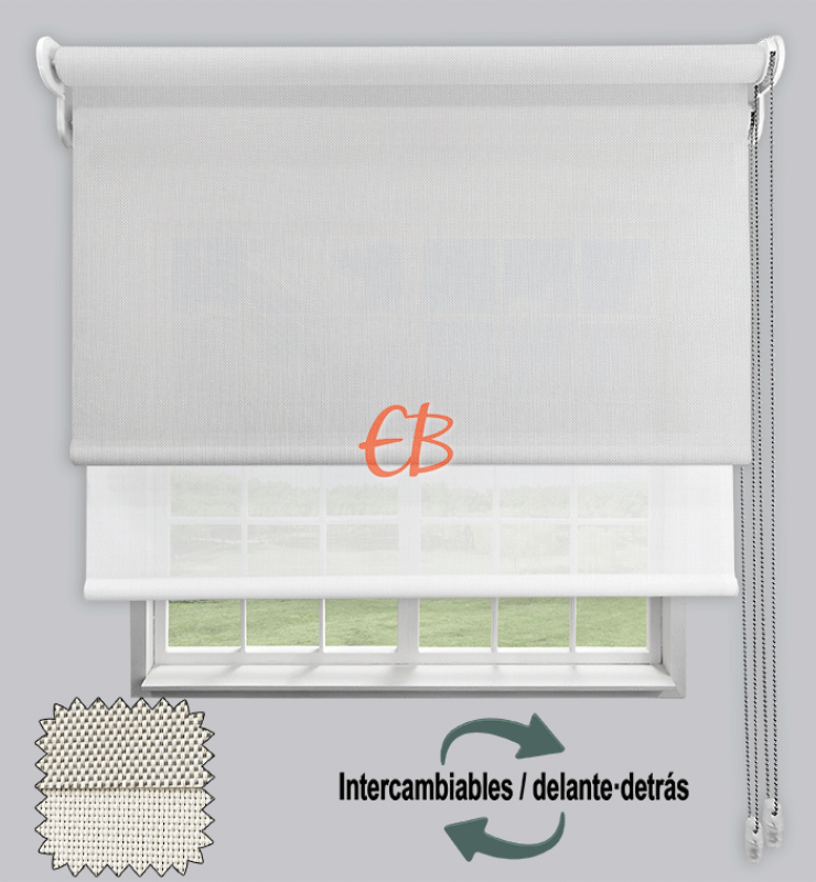 Estor doble EcoScreen 1%-EcoScreen 5% Blanco perla B10207/Blanco B50202