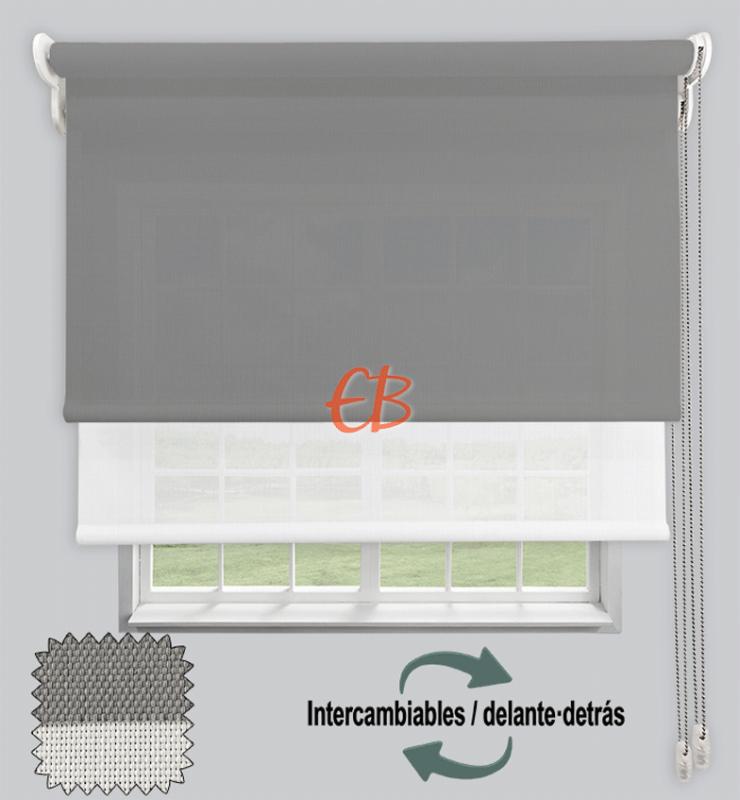 Estor doble EcoScreen 1%-EcoScreen 5% acabado Perla Blanco