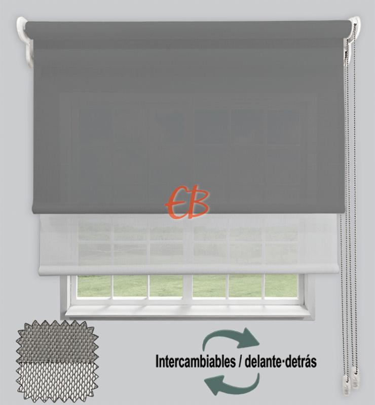 Estor doble EcoScreen 1%-EcoScreen 5% Perla B10707/Blanco perla B50207