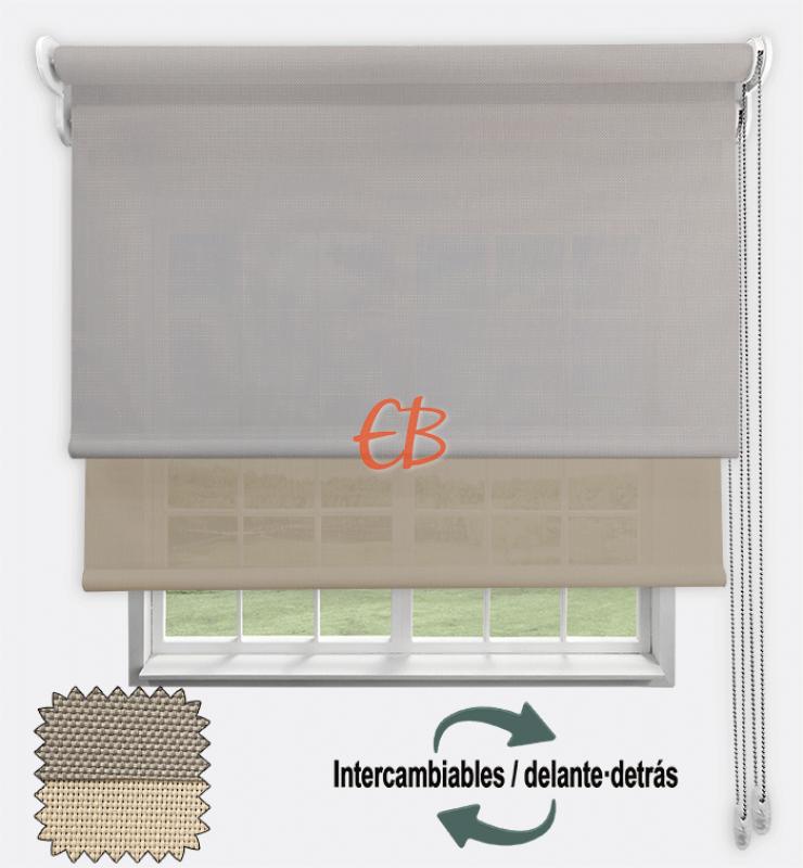 Estor doble EcoScreen 1%-EcoScreen 5% Perla lino B10720 / Lino B52020