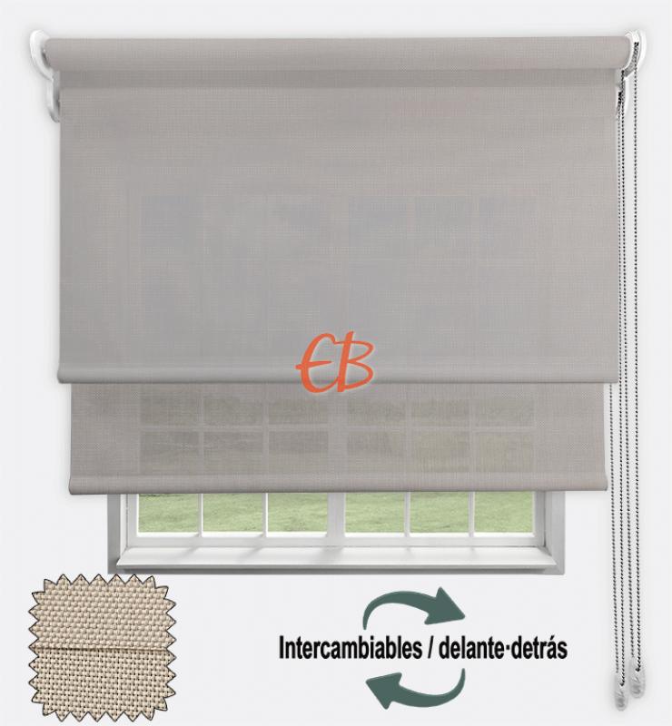 Estor doble EcoScreen 1%-EcoScreen 5% Perla lino B10720/Perla lino B50720