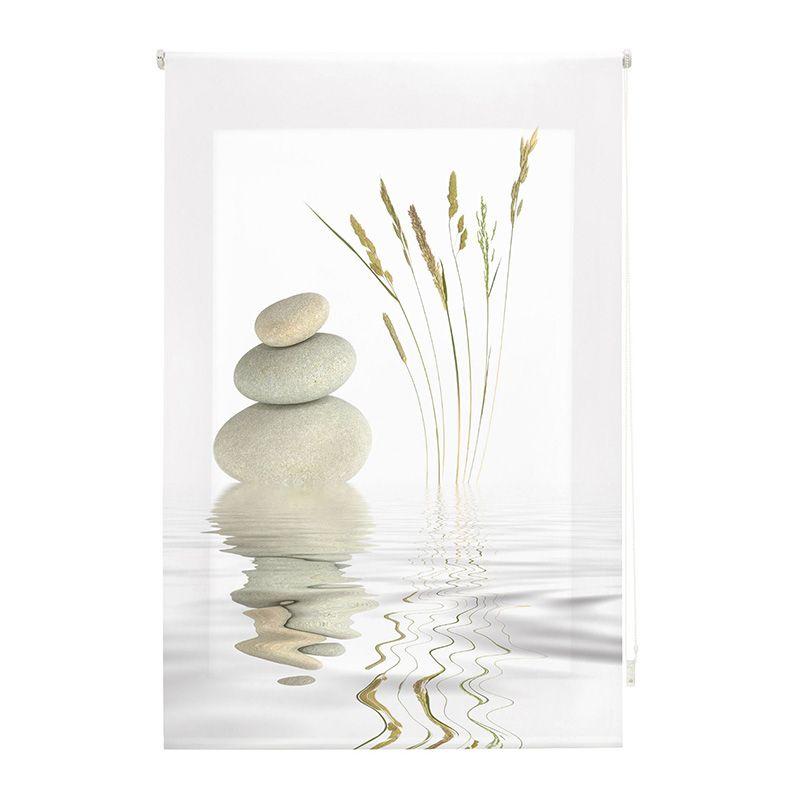 Estor enrollable impresión digital zen piedras y trigo