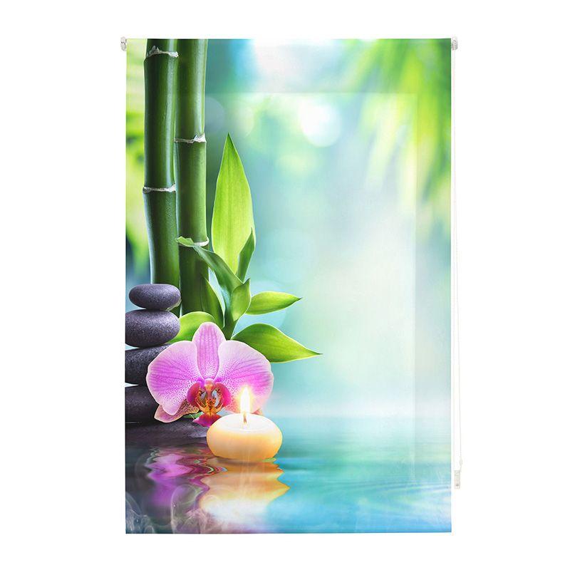 Estor enrollable impresión digital bambú con flor y vela