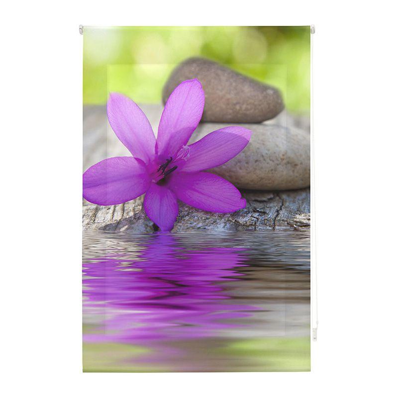 Estor enrollable impresión digital flor sobre agua
