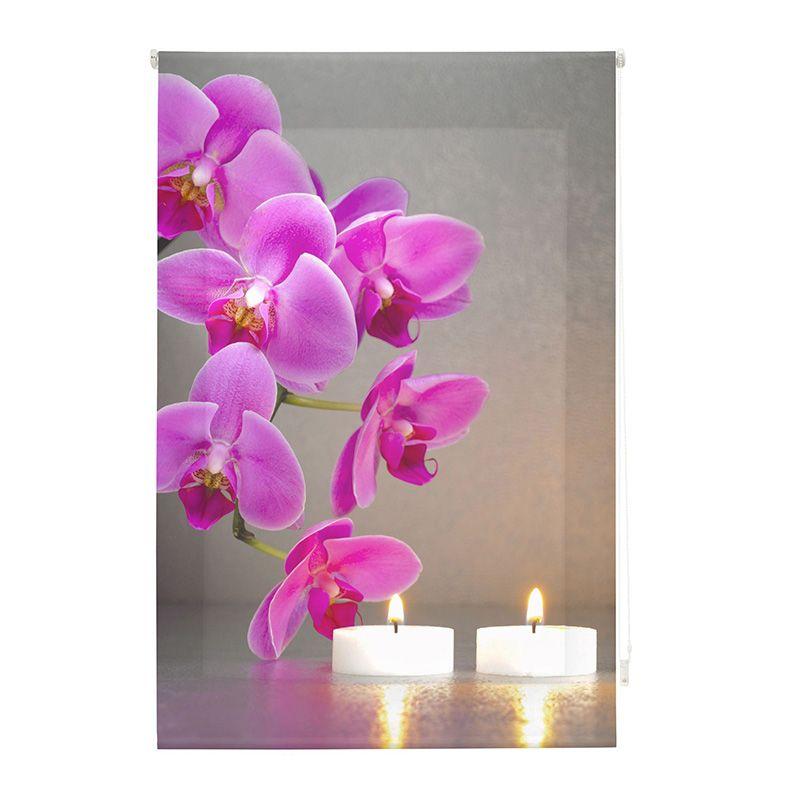 Estor enrollable impresión digital zen orquídeas con velas