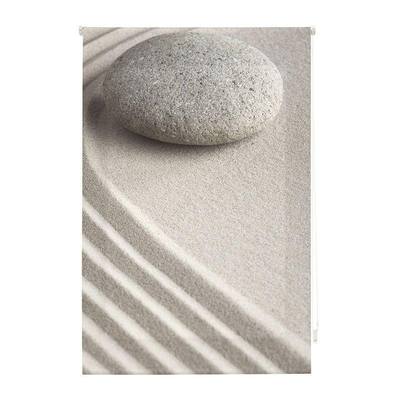 Estor enrollable impresión digital piedra en jardín zen