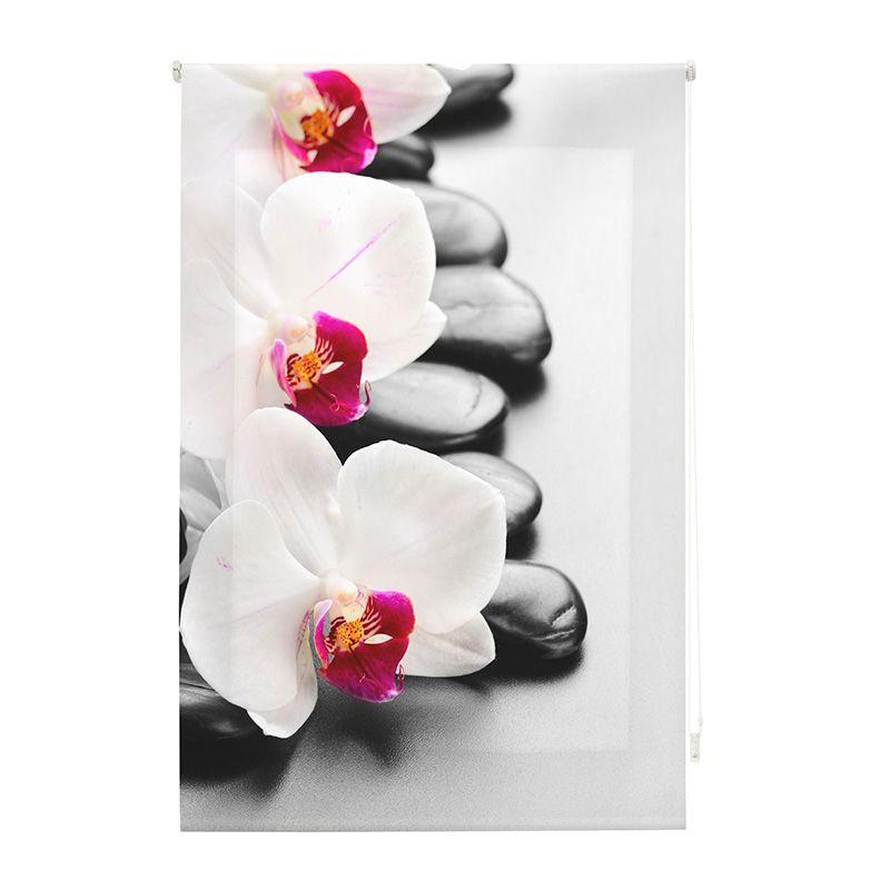 Estor enrollables impresión digital orquídeas con piedras negras