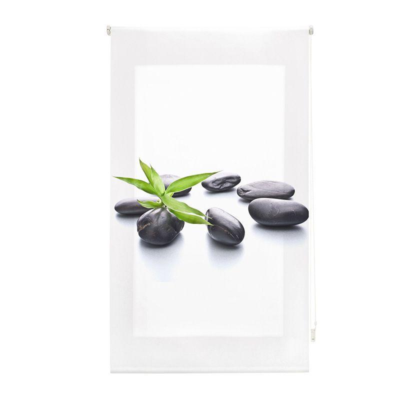 Estor enrollable impresión digital piedras y hojas zen