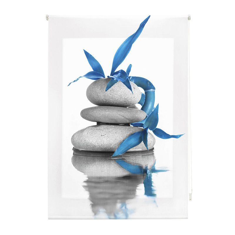 Estor enrollable impresión digital piedras flor azul