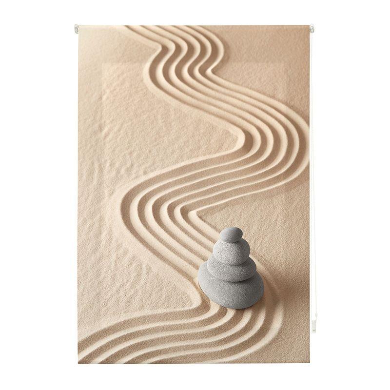 Estor enrollable impresión digital arena jardín zen