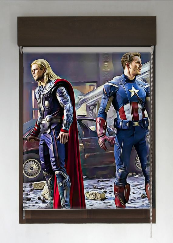 estor enrollable superroller thor y capitan america