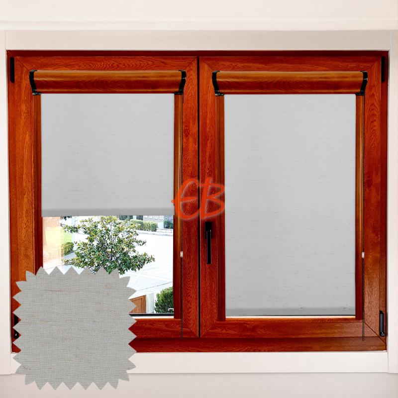 Enrollable marco ventana traslúcido Lino gris LN215