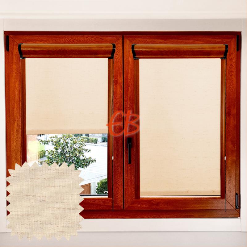 Enrollable marco ventana traslúcido Lino Tostado LN205