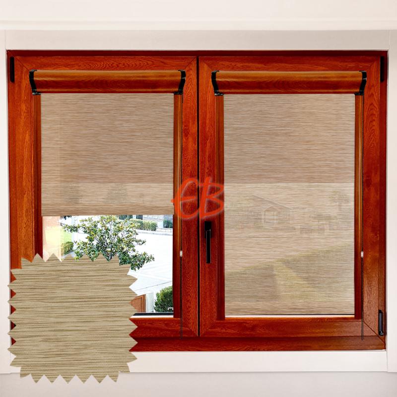 Enrollable marco ventana traslúcido madera bambú