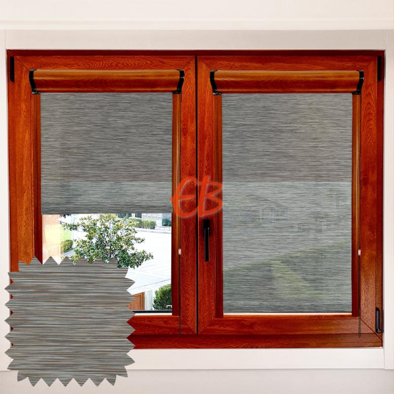 Enrollable marco ventana traslúcido madera bambú verdoso