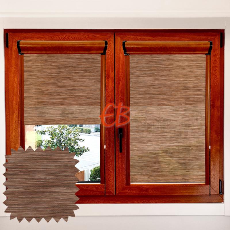 Enrollable marco ventana traslúcido madera teka