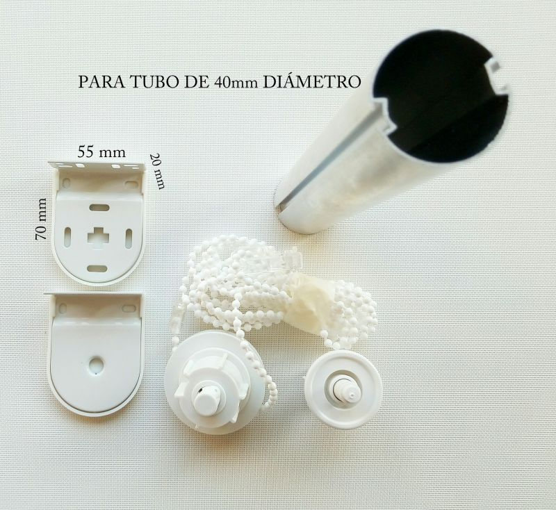 Juego completo accionamiento enrollables 40 mm blanco