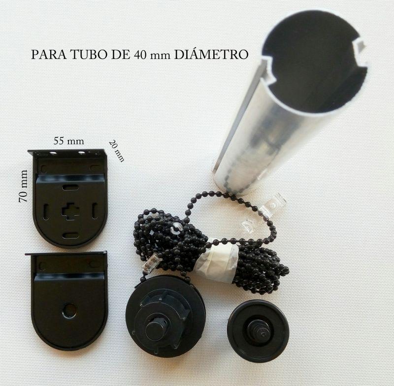 Juego completo accionamiento enrollables 40 mm negro