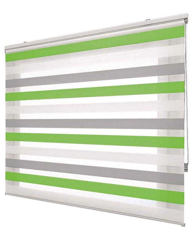 Estor noche y día tricolor estándar Blanco-Gris-Verde 508
