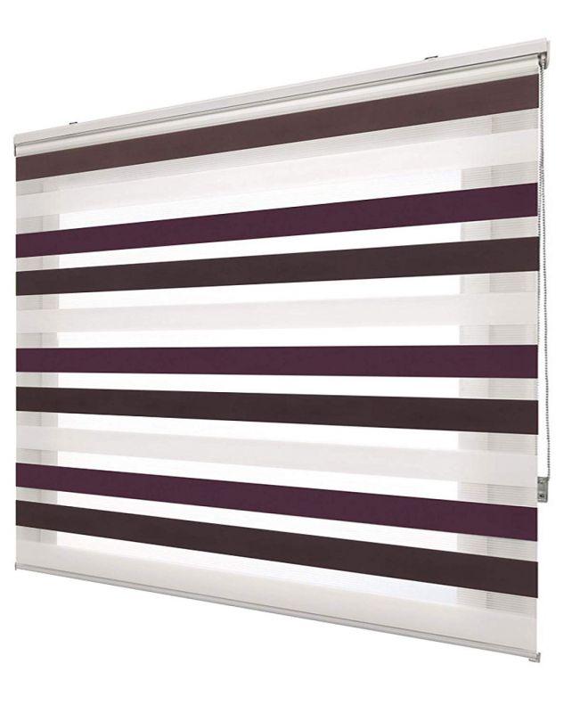 estores noche y día tricolor a medida /violeta gris blanco 510