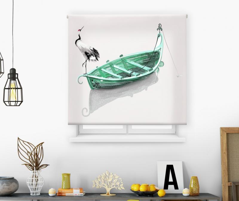 Estor impresión digital  juvenil Cool Fiction Cigüeña barca