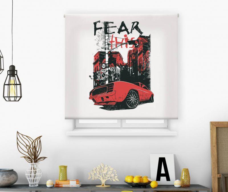 Estor impresión digital  juvenil Cool Fiction Coche Fear it